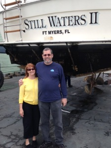 New owners during survey of boat