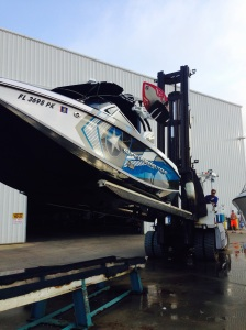 Lift to move boat in and out of the water