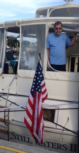 Celebrating the 4th in Stuart, Fl. This flag once flew in Iraq. Thanks Mike.