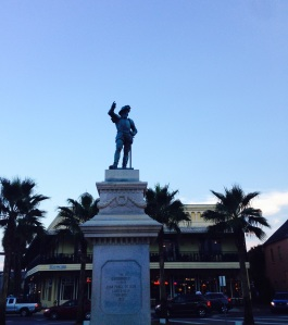 Ponce de Leon greeting you as you enter the plaza.