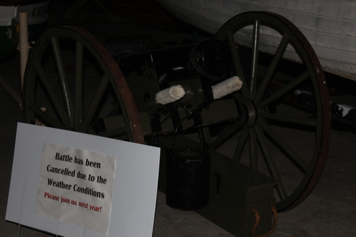 Cannon used in reenactment of Battle of Plymouth - Sign cracked the skipper up