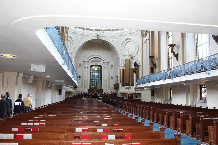 Looking down the aisle of Chapel