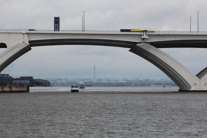 DC in the background of Woodrow Wilson Bridge