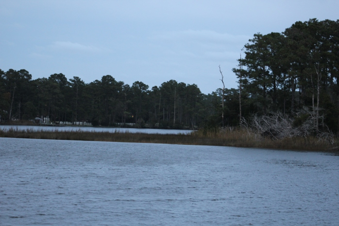 View in Adams Creek where the crew anchored