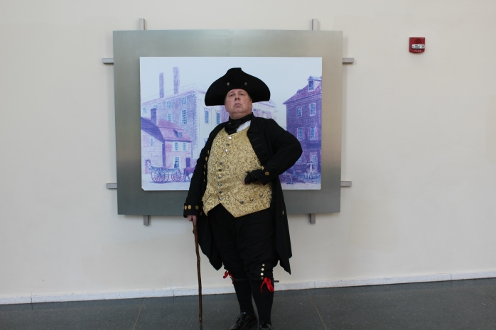 Henry Knox, George Washington's Secretary of War, dispensing knowledge at Visitor Center