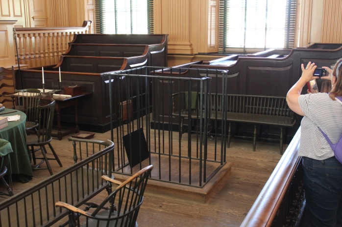 Court Room in Independence Hall - notice the cage, defendant used to actually have to stand in the cage during the trial - hence the term 'stand trial'